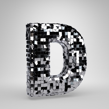 Chrome Disco Ball uppercase letter D isolated on white background. 3D rendered alphabet. Modern font for dance party banner, poster, design template element.