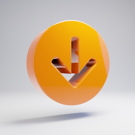 Volumetric glossy hot orange Arrow Circle Down icon isolated on white background. 3D rendered digital symbol. Modern icon for website, internet marketing, presentation, logo design template element. Banco de Imagens - 122466444