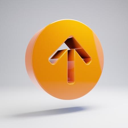 Volumetric glossy hot orange Arrow Circle Up icon isolated on white background. 3D rendered digital symbol. Modern icon for website, internet marketing, presentation, logo design template element.