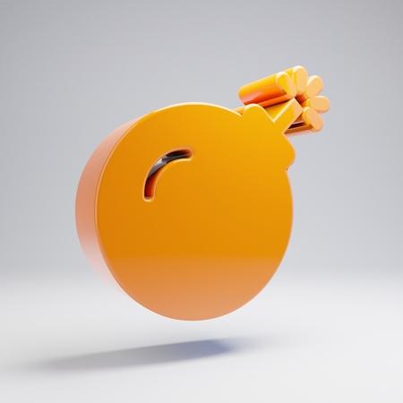 Volumetric glossy hot orange Bomb icon isolated on white background. 3D rendered digital symbol. Modern icon for website, internet marketing, presentation, logo design template element. Stok Fotoğraf