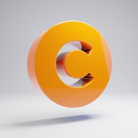 Volumetric glossy hot orange Copyright icon isolated on white background. 3D rendered digital symbol. Modern icon for website, internet marketing, presentation, logo design template element. Stock Photo