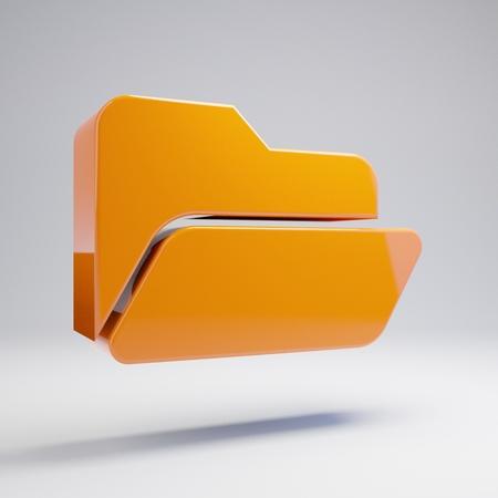 Volumetric glossy hot orange Folder Open icon isolated on white background. 3D rendered digital symbol. Modern icon for website, internet marketing, presentation, logo design template element.