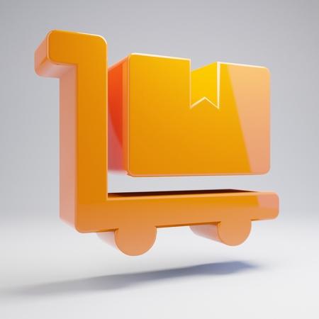 Volumetric glossy hot orange Dolly Flatbed icon isolated on white background. 3D rendered digital symbol. Modern icon for website, internet marketing, presentation, logo design template element.