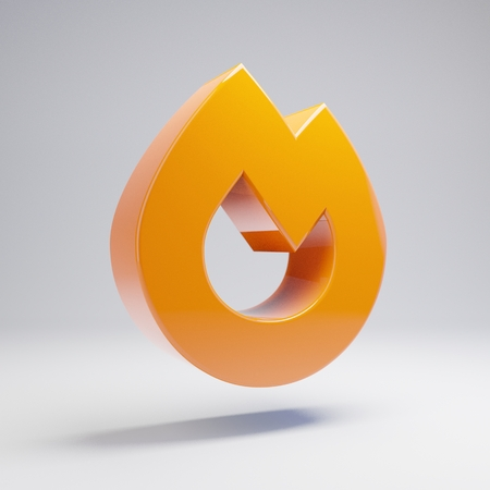 Volumetric glossy hot orange Fire icon isolated on white background. 3D rendered digital symbol. Modern icon for website, internet marketing, presentation, logo design template element. Banco de Imagens - 122090919
