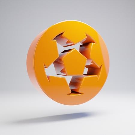 Volumetric glossy hot orange Soccer Ball icon isolated on white background. 3D rendered digital symbol. Modern icon for website, internet marketing, presentation, logo design template element.