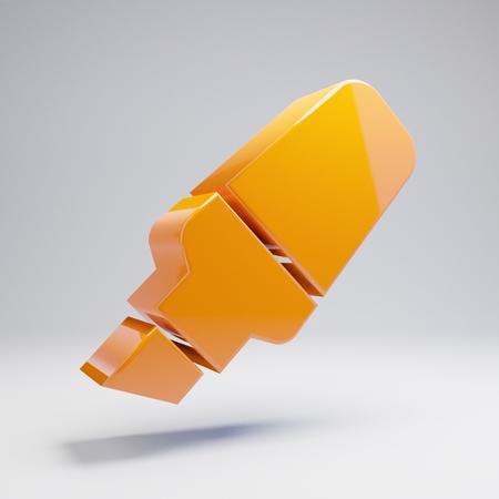 Volumetric glossy hot orange Highlighter icon isolated on white background. 3D rendered digital symbol. Modern icon for website, internet marketing, presentation, logo design template element.