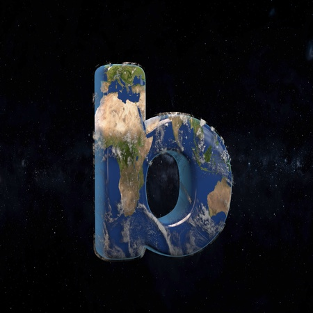 Earth lowercase letter B isolated in space with stars and the Milky Way. 3D rendered alphabet with detailed clouds, oceans and mainlands. Font for Ecology banner, poster, design template element.