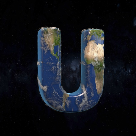 Earth uppercase letter U isolated in space with stars and the Milky Way. 3D rendered alphabet with detailed clouds, oceans and mainlands. Font for Ecology banner, poster, design template element.