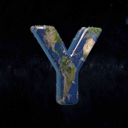 Earth uppercase letter Y isolated in space with stars and the Milky Way. 3D rendered alphabet with detailed clouds, oceans and mainlands. Font for Ecology banner, poster, design template element.