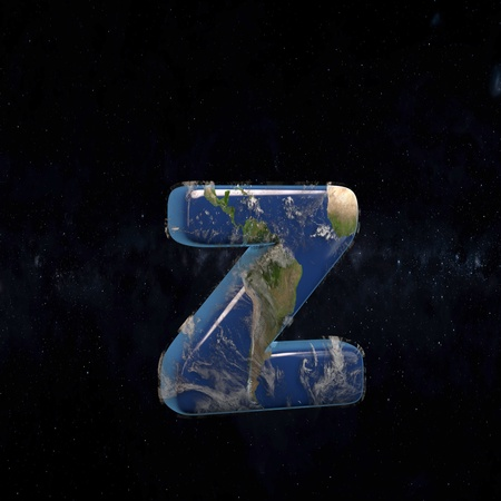 Earth lowercase letter Z isolated in space with stars and the Milky Way. 3D rendered alphabet with detailed clouds, oceans and mainlands. Font for Ecology banner, poster, design template element.