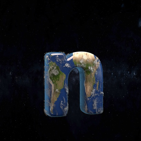 Earth lowercase letter N isolated in space with stars and the Milky Way. 3D rendered alphabet with detailed clouds, oceans and mainlands. Font for Ecology banner, poster, design template element.