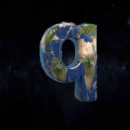 Earth lowercase letter Q isolated in space with stars and the Milky Way. 3D rendered alphabet with detailed clouds, oceans and mainlands. Font for Ecology banner, poster, design template element.