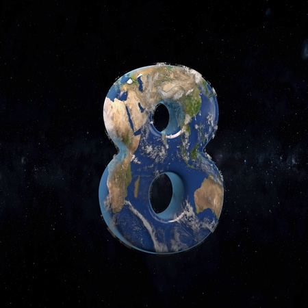 Earth uppercase number 8 in space with stars and the Milky Way. 3D rendered alphabet with detailed clouds, oceans and mainlands. Font for Ecology banner, poster, design template element.