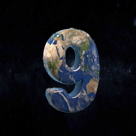 Earth uppercase number 9 in space with stars and the Milky Way. 3D rendered alphabet with detailed clouds, oceans and mainlands. Font for Ecology banner, poster, design template element.
