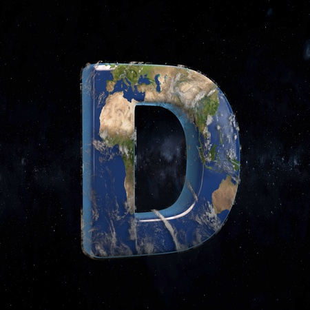Earth uppercase letter D isolated in space with stars and the Milky Way. 3D rendered alphabet with detailed clouds, oceans and mainlands. Font for Ecology banner, poster, design template element.