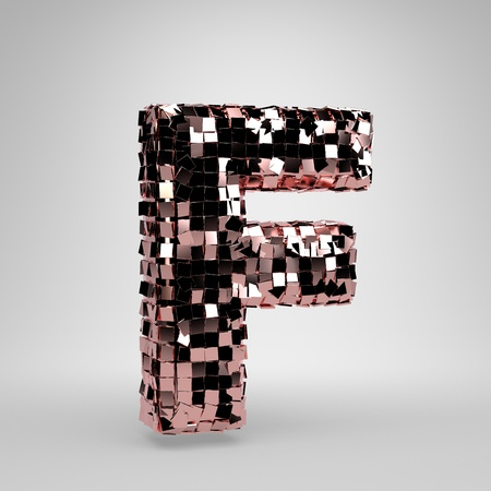 Rose Gold Disco Ball uppercase letter F isolated on white background. 3D rendered alphabet. Modern font for dance party banner, poster, design template element. 版權商用圖片
