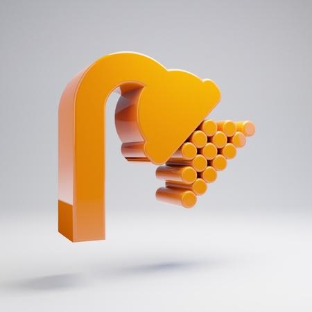 Volumetric glossy hot orange Shower icon isolated on white background. 3D rendered digital symbol. Modern icon for website, internet marketing, presentation, logo design template element.