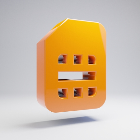 Volumetric glossy hot orange Sim-card icon isolated on white background. 3D rendered digital symbol. Modern icon for website, internet marketing, presentation, logo design template element.