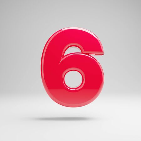 Glossy neon pink number 6 isolated on white background. 3D rendered alphabet. Modern font for banner, poster, cover, logo design template element.