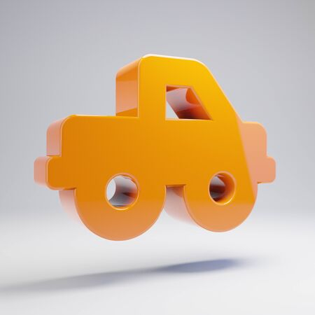Volumetric glossy hot orange truck pickup icon isolated on white background. 3D rendered digital symbol. Modern icon for website, internet marketing, presentation, logo design template element. Stock Photo