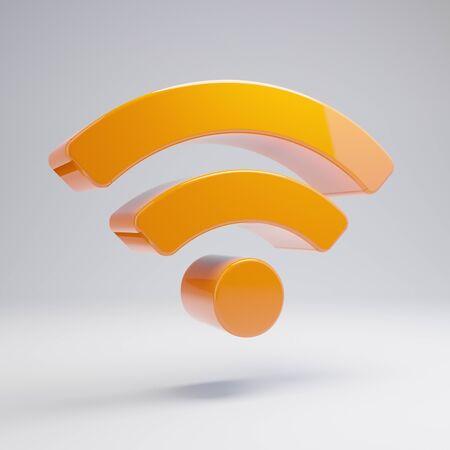 Volumetric glossy hot orange wi-fi icon isolated on white background. 3D rendered digital symbol. Modern icon for website, internet marketing, presentation, logo design template element. Stock Photo