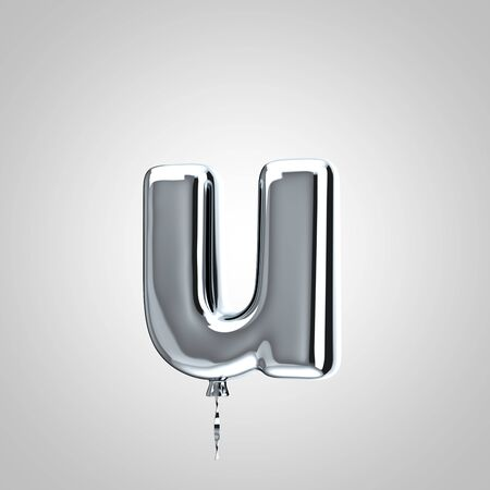 Shiny metallic chrome balloon letter U lowercase isolated on white. 3D rendered alphabet type balloons for holiday, birthday, celebration, new year. Glossy font for banner, poster decoration. Stock Photo
