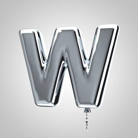 Shiny metallic chrome balloon letter W uppercase isolated on white. 3D rendered alphabet type balloons for holiday, birthday, celebration, new year. Glossy font for banner, poster decoration.