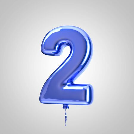 Shiny metallic blue balloon number 2 isolated on white background. 3D rendered alphabet type balloons for holiday, birthday, celebration, new year. Glossy font for banner, poster decoration. Stock Photo