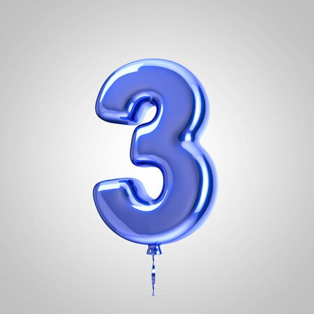 Shiny metallic blue balloon number 3 isolated on white background. 3D rendered alphabet type balloons for holiday, birthday, celebration, new year. Glossy font for banner, poster decoration.