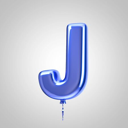 Shiny metallic blue balloon letter J uppercase isolated on white background. 3D rendered alphabet type balloons for holiday, birthday, celebration, new year. Glossy font for banner, poster decoration.