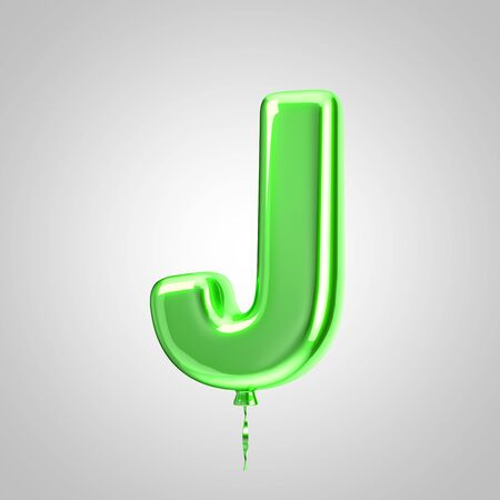 Shiny metallic green balloon letter J uppercase isolated on white. 3D rendered alphabet type balloons for holiday, birthday, celebration, new year. Glossy font for banner, poster decoration.