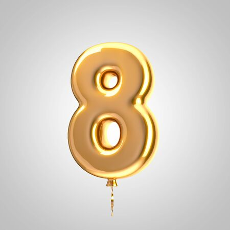 Shiny metallic orange balloon number 8 isolated on white. 3D rendered alphabet type balloons for holiday, birthday, celebration, new year. Glossy font for banner, poster decoration.