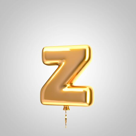 Shiny metallic orange balloon letter Z lowercase isolated on white. 3D rendered alphabet type balloons for holiday, birthday, celebration, new year. Glossy font for banner, poster decoration.