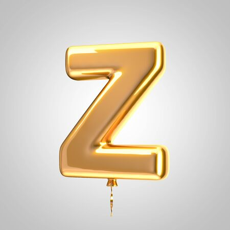 Shiny metallic orange balloon letter Z uppercase isolated on white. 3D rendered alphabet type balloons for holiday, birthday, celebration, new year. Glossy font for banner, poster decoration.