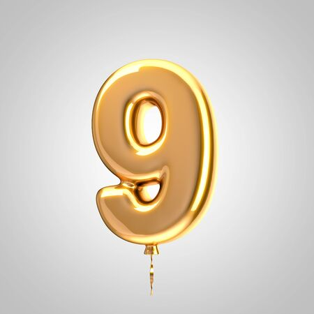 Shiny metallic orange balloon number 9 isolated on white. 3D rendered alphabet type balloons for holiday, birthday, celebration, new year. Glossy font for banner, poster decoration. Stock Photo