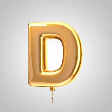 Shiny metallic orange balloon letter D uppercase isolated on white. 3D rendered alphabet type balloons for holiday, birthday, celebration, new year. Glossy font for banner, poster decoration.