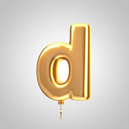 Shiny metallic orange balloon letter D lowercase isolated on white. 3D rendered alphabet type balloons for holiday, birthday, celebration, new year. Glossy font for banner, poster decoration. Stock Photo