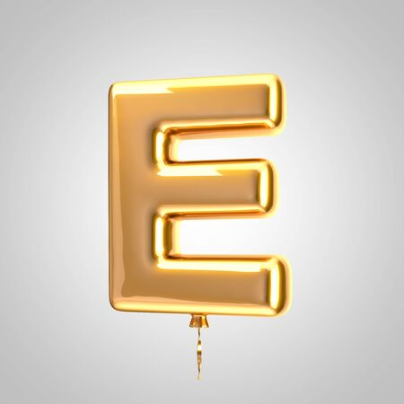 Shiny metallic orange balloon letter E uppercase isolated on white. 3D rendered alphabet type balloons for holiday, birthday, celebration, new year. Glossy font for banner, poster decoration. Stock Photo