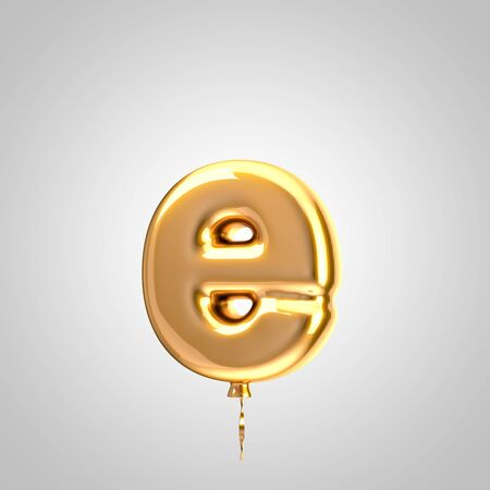 Shiny metallic orange balloon letter E lowercase isolated on white. 3D rendered alphabet type balloons for holiday, birthday, celebration, new year. Glossy font for banner, poster decoration.