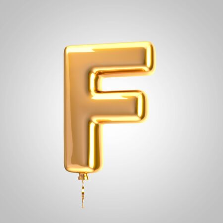 Shiny metallic orange balloon letter F uppercase isolated on white. 3D rendered alphabet type balloons for holiday, birthday, celebration, new year. Glossy font for banner, poster decoration.