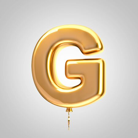 Shiny metallic orange balloon letter G uppercase isolated on white. 3D rendered alphabet type balloons for holiday, birthday, celebration, new year. Glossy font for banner, poster decoration.
