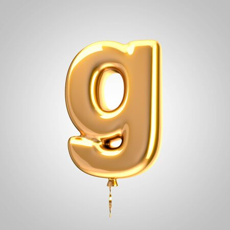 Shiny metallic orange balloon letter G lowercase isolated on white. 3D rendered alphabet type balloons for holiday, birthday, celebration, new year. Glossy font for banner, poster decoration.