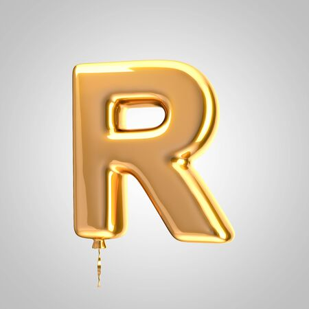 Shiny metallic orange balloon letter R uppercase isolated on white. 3D rendered alphabet type balloons for holiday, birthday, celebration, new year. Glossy font for banner, poster decoration.
