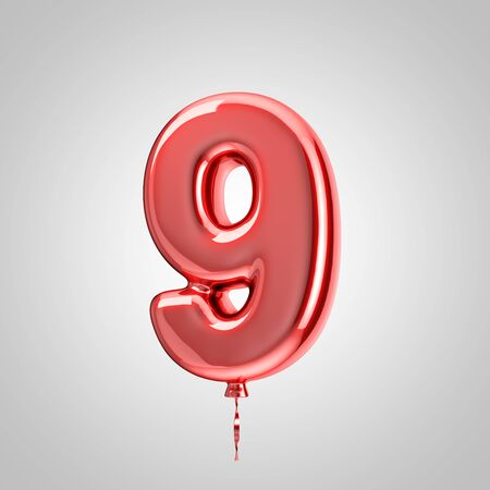 Shiny metallic red balloon number 9 isolated on white background. 3D rendered alphabet type balloons for holiday, birthday, celebration, new year. Glossy font for banner, poster decoration.