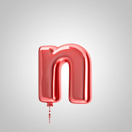 Shiny metallic red balloon letter N lowercase isolated on white background. 3D rendered alphabet type balloons for holiday, birthday, celebration, new year. Glossy font for banner, poster decoration.