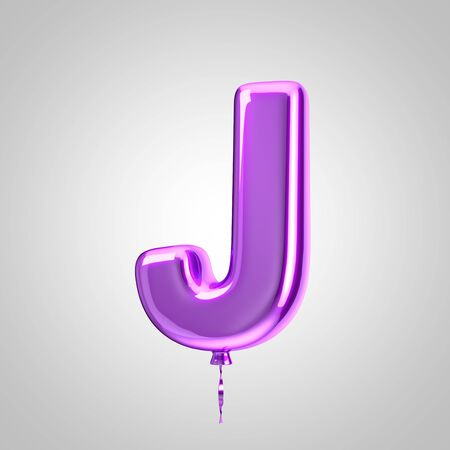 Shiny metallic violet balloon letter J uppercase isolated on white. 3D rendered alphabet type balloons for holiday, birthday, celebration, new year. Glossy font for banner, poster decoration.