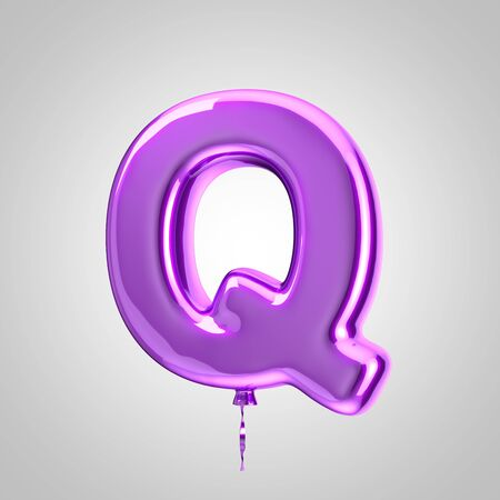 Shiny metallic violet balloon letter Q uppercase isolated on white. 3D rendered alphabet type balloons for holiday, birthday, celebration, new year. Glossy font for banner, poster decoration.