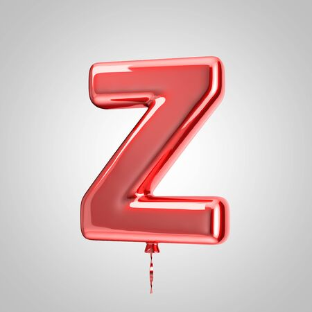 Shiny metallic red balloon letter Z uppercase isolated on white background. 3D rendered alphabet type balloons for holiday, birthday, celebration, new year. Glossy font for banner, poster decoration.