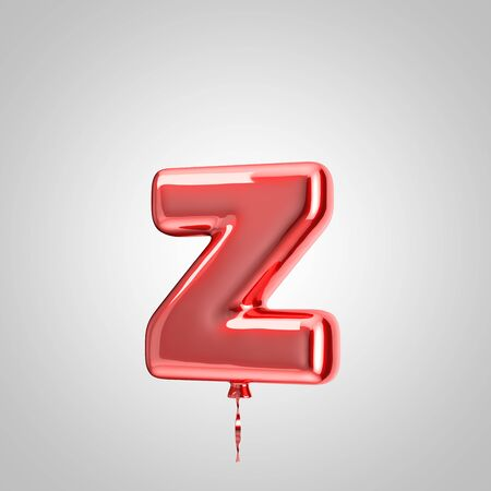 Shiny metallic red balloon letter Z lowercase isolated on white background. 3D rendered alphabet type balloons for holiday, birthday, celebration, new year. Glossy font for banner, poster decoration.