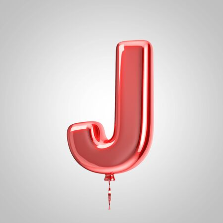 Shiny metallic red balloon letter J uppercase isolated on white background. 3D rendered alphabet type balloons for holiday, birthday, celebration, new year. Glossy font for banner, poster decoration.